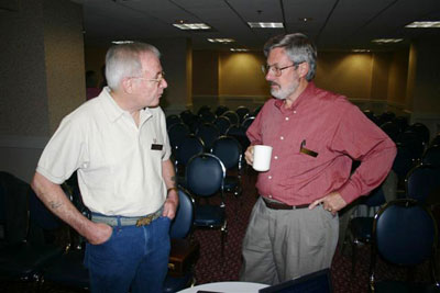 Bobby Mann and Dennis Nelson chatting