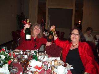 Denise Nelson and Davia Kramer enjoying the champagne