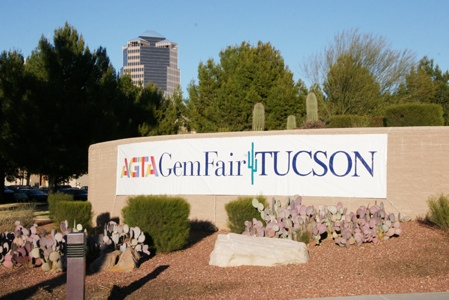 Gem Fair welcoming sign at the Tucson Convention Center