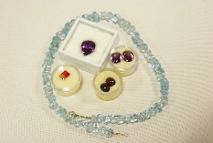 Natural color blue Topaz necklace, Watermelon Tourmaline and  Garnet cabochons from Minas Gerais